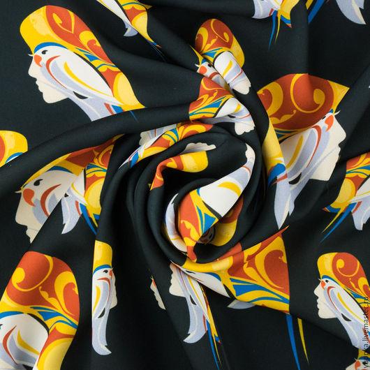 """Шитье ручной работы. Ярмарка Мастеров - ручная работа. Купить Итальянская ткань, полиэстер с вискозой, """"Янус"""". Handmade. Черный, италия"""