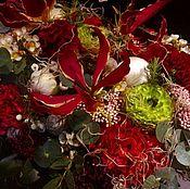Цветы и флористика handmade. Livemaster - original item Arrangement in wooden planter Gloriosa. Handmade.