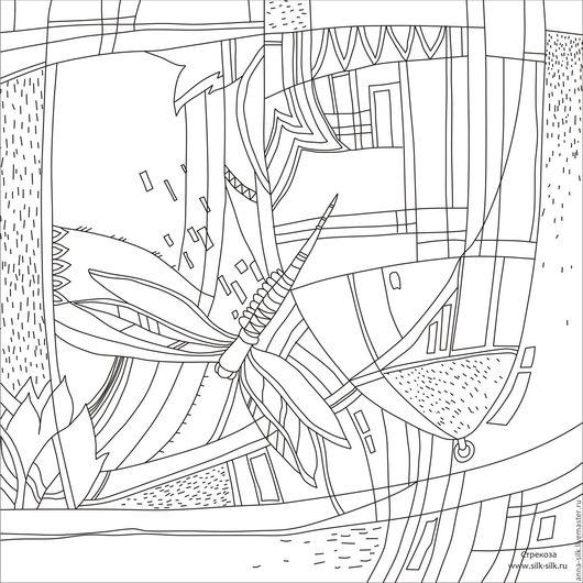 Ярмарка  Мастеров. Купить Шаблон для росписи `Стрекоза` 70*70см. Инструменты для творчества. Шаблон для росписи `Стрекоза` 70*70см. Инструменты для батика. Калька для батика.