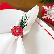 Для дома и интерьера ручной работы. Ярмарка Мастеров - ручная работа Кольца для салфеток с цветами из белой кожи 4 штуки. Handmade.