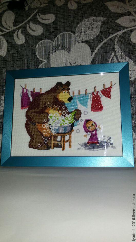 Фэнтези ручной работы. Ярмарка Мастеров - ручная работа. Купить Картина Маша и медведь.. Handmade. Бирюзовый, канва для вышивания, подарок