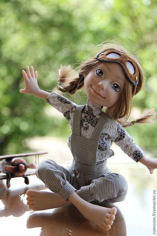 Коллекционные куклы ручной работы. Ярмарка Мастеров - ручная работа. Купить Первый вылет. Handmade. Серый, самолет, коричневый