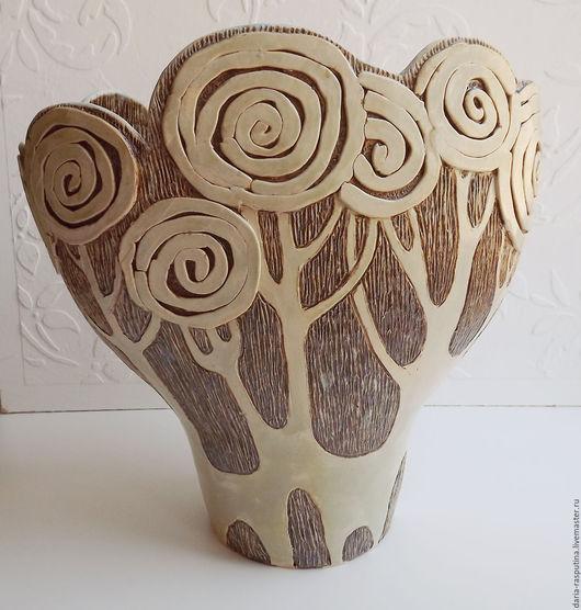 """Вазы ручной работы. Ярмарка Мастеров - ручная работа. Купить Ваза """"деревья"""". Handmade. Серый, ваза керамическая"""