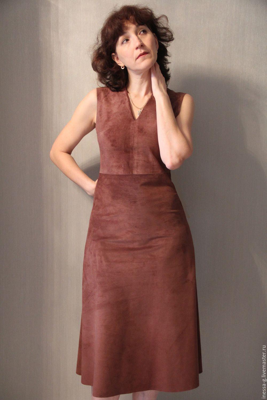 Suede dress/sundress color of milk chocolate – shop online on ...