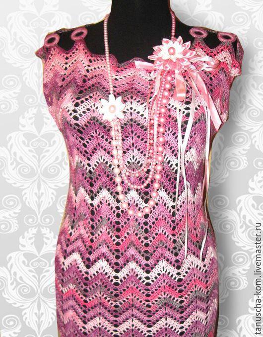Платья ручной работы. Ярмарка Мастеров - ручная работа. Купить Платье крючком Розовое миссони. Handmade. Вязание крючком, хлопок