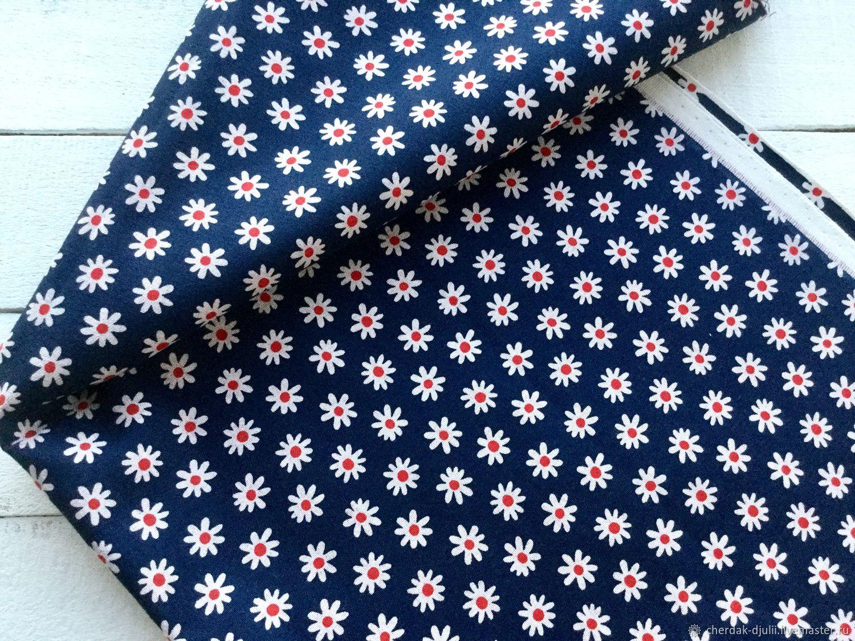 Fabric cotton jeans with flower print 25h55 cm, Fabric, Kaliningrad,  Фото №1