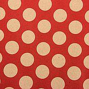 Материалы для творчества ручной работы. Ярмарка Мастеров - ручная работа Бумага крафт красная в крупный белый горох. Handmade.