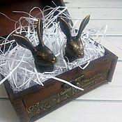 Материалы для творчества ручной работы. Ярмарка Мастеров - ручная работа Мебельная ручка металлический кролик. Handmade.