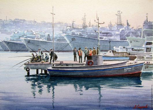 Пейзаж ручной работы. Ярмарка Мастеров - ручная работа. Купить Рыбаки на пирсе (Севастополь). Handmade. Бледно-сиреневый, бухта, катер