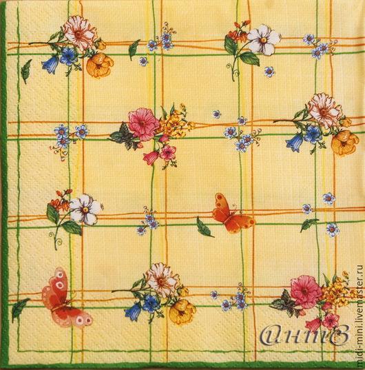 салфетка для декупажа  букетики цветы бабочки принт