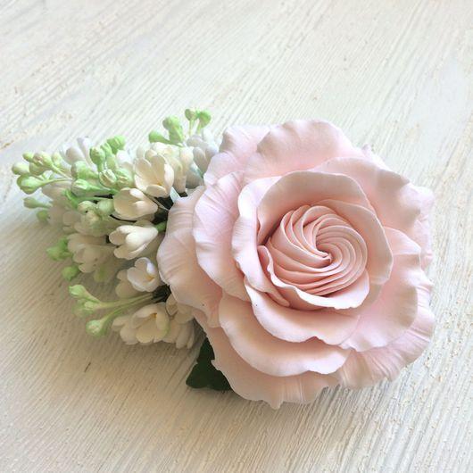 Свадебные украшения ручной работы. Ярмарка Мастеров - ручная работа. Купить Большой зажим с розой и веточкой сирени.. Handmade.