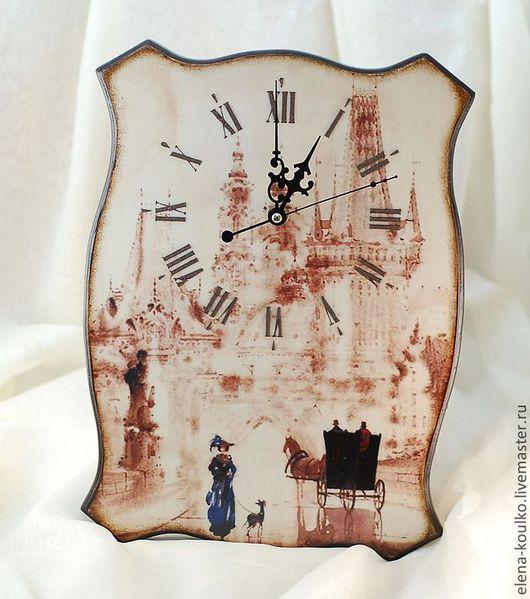 """Часы для дома ручной работы. Ярмарка Мастеров - ручная работа. Купить Часы """"Очарование акварели"""". Handmade. Коричневый, часы интерьерные"""