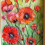 """Картины и панно ручной работы. Ярмарка Мастеров - ручная работа """"Маки цветут"""" ) рельефное панно. Handmade."""