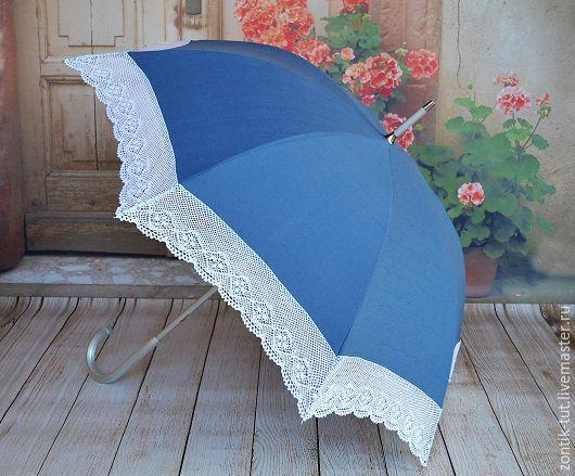 """Зонты ручной работы. Ярмарка Мастеров - ручная работа. Купить Зонт от солнца """"Белое кружево-синий лен"""". Handmade. льняной"""