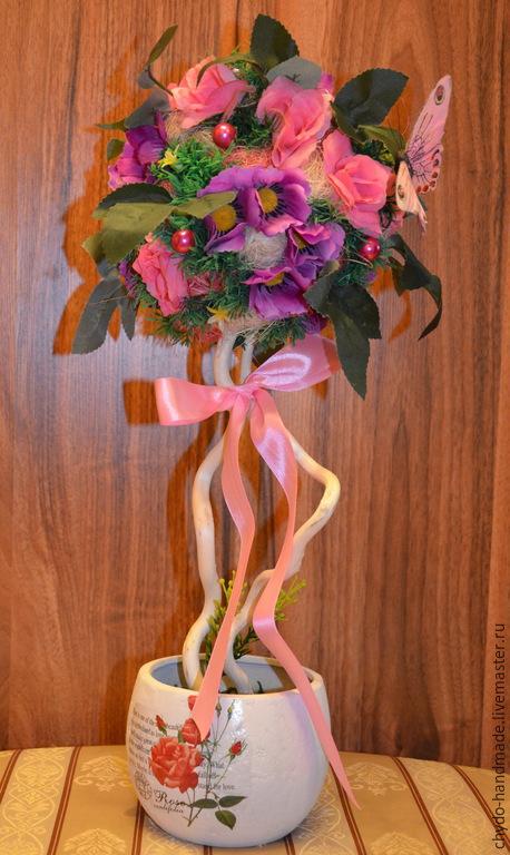 Топиарии ручной работы. Ярмарка Мастеров - ручная работа. Купить Нежные розочки. Handmade. Разноцветный, сереневый, топиарий из цветов