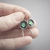 Украшения handmade. Livemaster - original item Earrings in sterling silver with chrysoprase. Handmade.