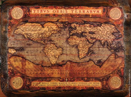 """Репродукции ручной работы. Ярмарка Мастеров - ручная работа. Купить Панно настенное """"Старинная Карта"""". Handmade. Панно, панно на стену"""