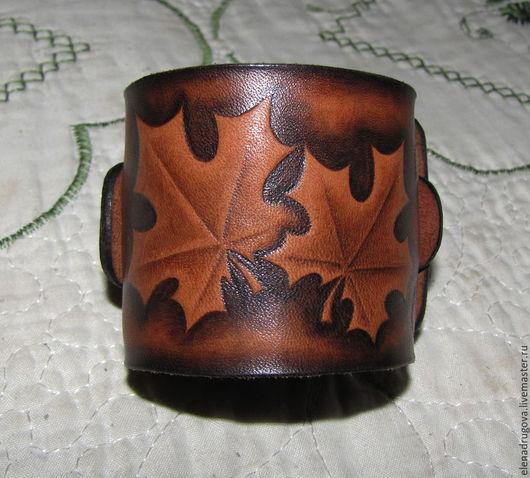 """Браслеты ручной работы. Ярмарка Мастеров - ручная работа. Купить Кожаный браслет """"Осень"""". Handmade. Браслет из кожи, натуральная кожа"""