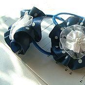 Работы для детей, ручной работы. Ярмарка Мастеров - ручная работа Резинки для волос Вариации на тему Нитуш. Синие в горошек. Handmade.