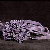 """Аксессуары ручной работы. Ярмарка Мастеров - ручная работа Цветы из кожи  """"Розовый пепел"""". Handmade."""