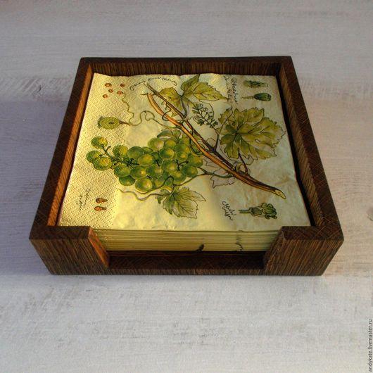 Деревянная салфетница из дуба (тон `темный орех`)