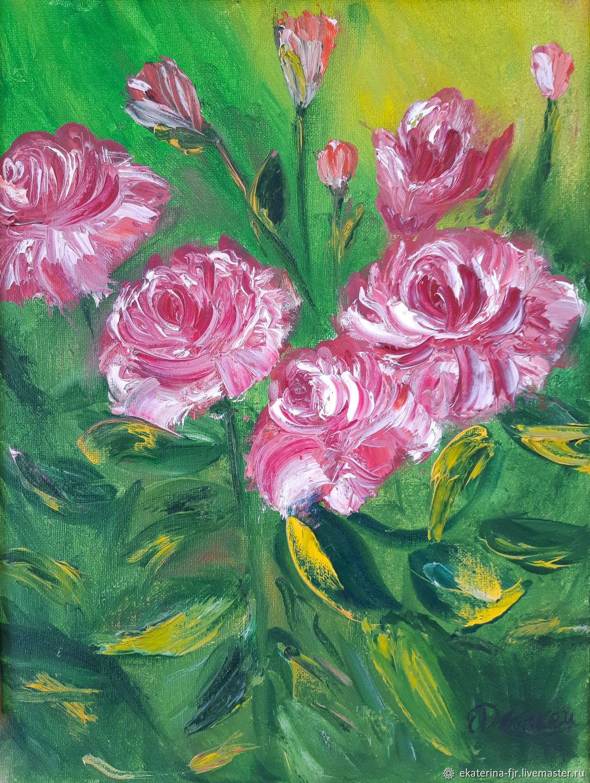Картина маслом цветы картина розовые розы интерьерная стильная картина, Цветы, Москва,  Фото №1