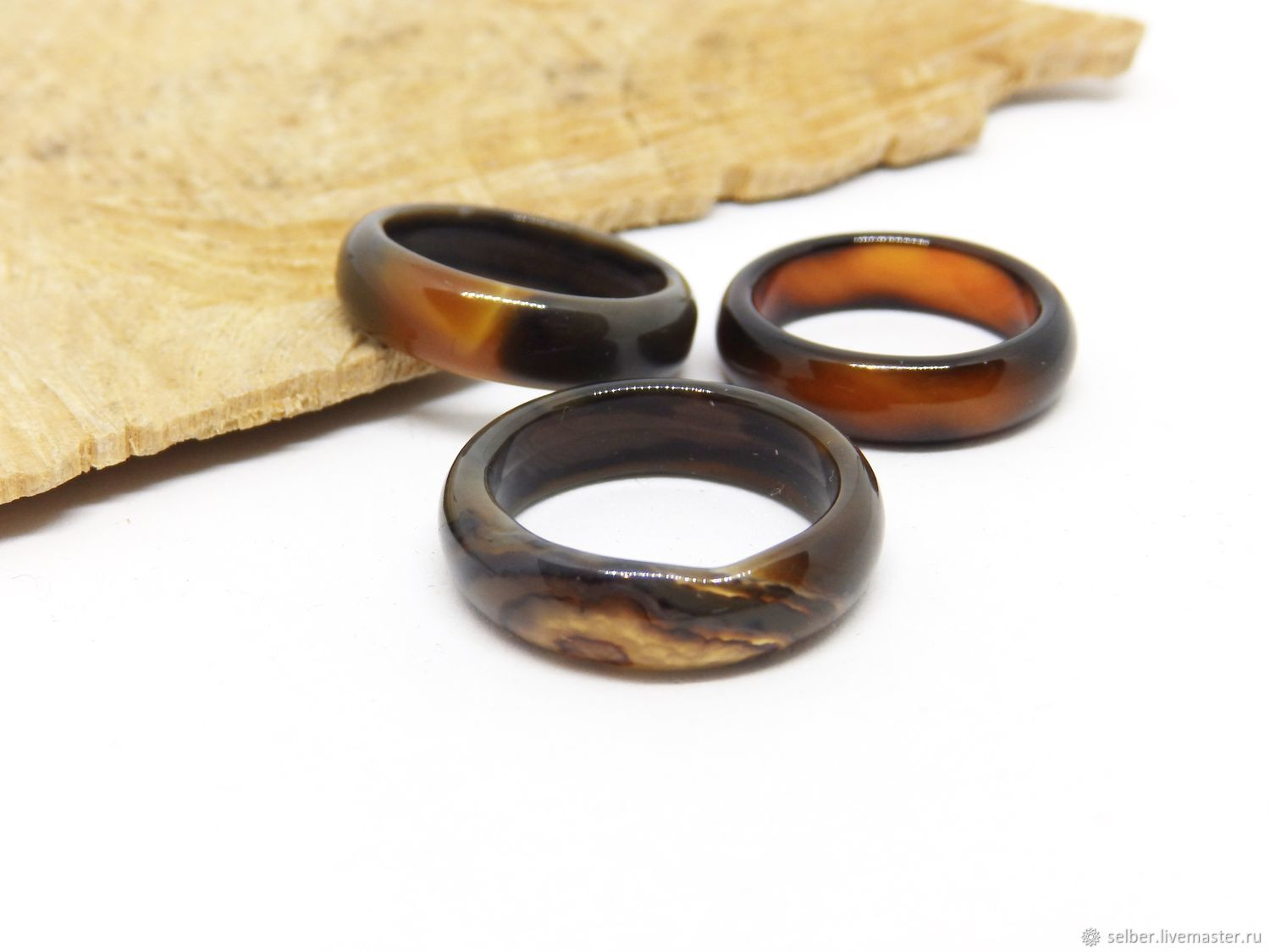 Ring of agate Coffee with milk 18 size, Rings, Gatchina,  Фото №1