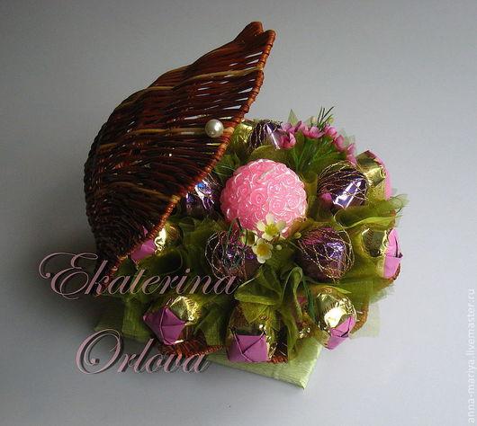 Кулинарные сувениры ручной работы. Ярмарка Мастеров - ручная работа. Купить Жемчужинка  (букет из конфет). Handmade. Подарок, сладкий подарок