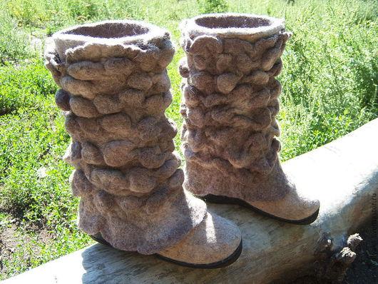 """Обувь ручной работы. Ярмарка Мастеров - ручная работа. Купить Валенки """"По лесу"""". Handmade. Валенки, камушки, шерсть кардочёс"""