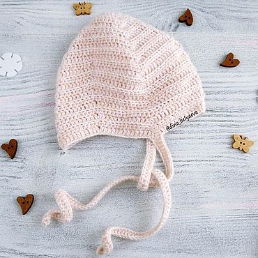 Clothing handmade. Livemaster - original item cap hat for newborn baby boy crocheted, beige, 0-1 months. Handmade.