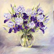Дизайн и реклама handmade. Livemaster - original item Oil painting flowers Irises. Handmade.