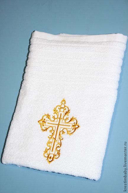 """Крестильные принадлежности ручной работы. Ярмарка Мастеров - ручная работа. Купить Крестильное полотенце """"Крещение"""". Handmade. Белый, крестильное полотенце"""