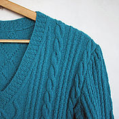 Одежда ручной работы. Ярмарка Мастеров - ручная работа Пуловер, джемпер, кофта с фактурным узором косы Сочная бирюза. Handmade.