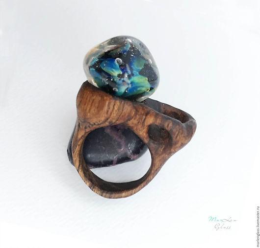 Кольца ручной работы. Ярмарка Мастеров - ручная работа. Купить Кольцо Даймонд. Handmade. Синий, деревянное кольцо, авторский лэмпворк