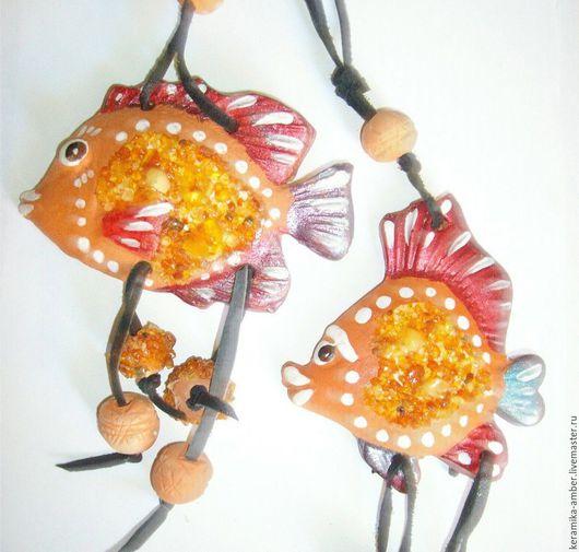 Подвески ручной работы. Ярмарка Мастеров - ручная работа. Купить Рыбки Малые. 2шт керамика янтарь, рыбка сувенир, недорогой подарок. Handmade.