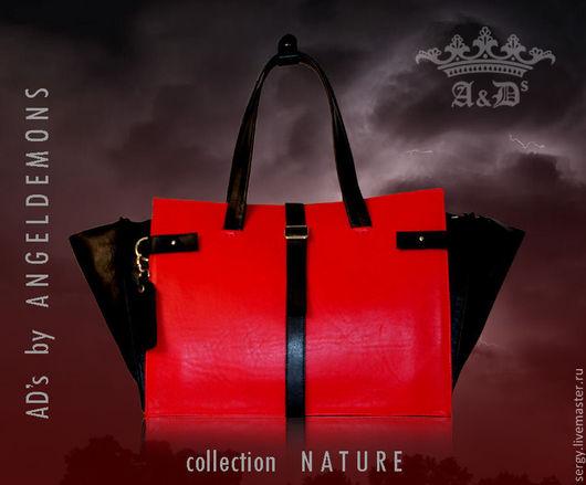 Мужские сумки ручной работы. Ярмарка Мастеров - ручная работа. Купить Сумка Nature Carpetbag Red. Handmade. Ярко-красный