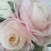 Свадебный салон ручной работы. Ярмарка Мастеров - ручная работа Цветы в причёску Бело-розовые розы. Handmade.