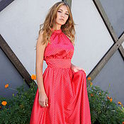 Одежда handmade. Livemaster - original item Dress satin red peas NASTEN 20% Discount. Handmade.