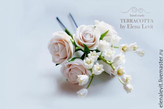 Веточка из роз и ландышей. Terracotta flowers.