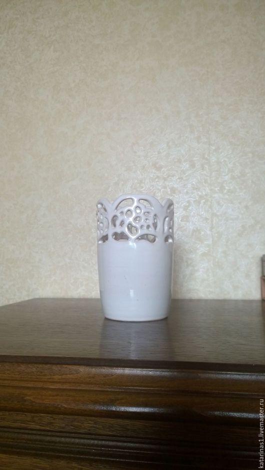 Вазы ручной работы. Ярмарка Мастеров - ручная работа. Купить Ажурная белая ваза. Handmade. Белый, Ажурная ваза