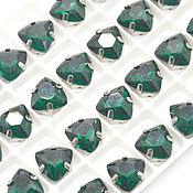 Стразы триллиант 12 мм в цапах зеленый
