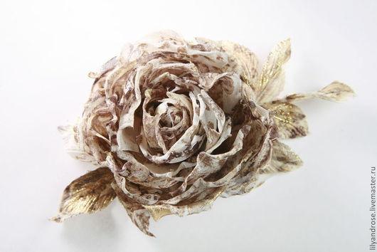 Броши ручной работы. Ярмарка Мастеров - ручная работа. Купить Роза брошь. Handmade. Серый, серая роза из ткани