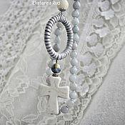 """Украшения handmade. Livemaster - original item Колье в стиле бохо из камней, с кулоном и крестом """"Легкость ветра"""". Handmade."""