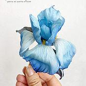 Украшения handmade. Livemaster - original item Brooch made of silk iris blue. Handmade.
