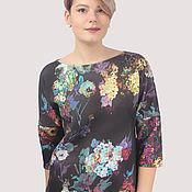 handmade. Livemaster - original item Black neoprene sweatshirt with flowers. Handmade.