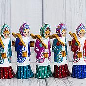 Подарки к праздникам handmade. Livemaster - original item Wooden figures Russian style Girl with buckets. Handmade.