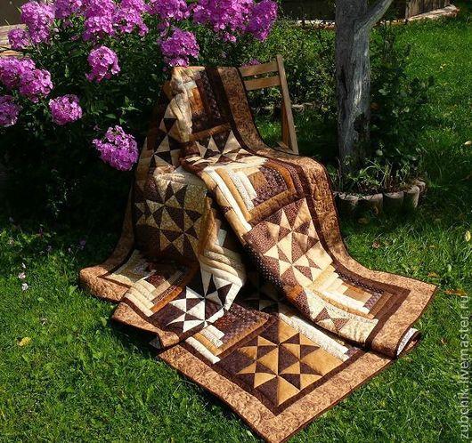 Текстиль, ковры ручной работы. Ярмарка Мастеров - ручная работа. Купить Лоскутное одеяло Меланж. Handmade. Коричневый, лоскутное покрывало