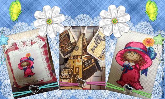 Детская ручной работы. Ярмарка Мастеров - ручная работа. Купить Подушка 30х30 см в вышивкой крестиком 15х18см. Handmade. Комбинированный