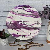 Для дома и интерьера handmade. Livemaster - original item Wall clock made of epoxy resin with marble pattern purple.. Handmade.