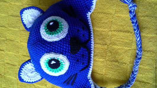 Шапки и шарфы ручной работы. Ярмарка Мастеров - ручная работа. Купить шапка в виде ласкового котенка. Handmade. Тёмно-синий